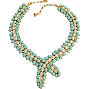 Trifari simulated pearl turquoise cabochon necklace