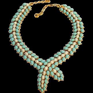 Trifari simulated pearl turquoise cabochon necklace