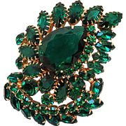 Green rhinestone pin brooch