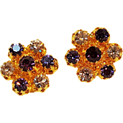 Austria rhinestone clip earrings purple lavender