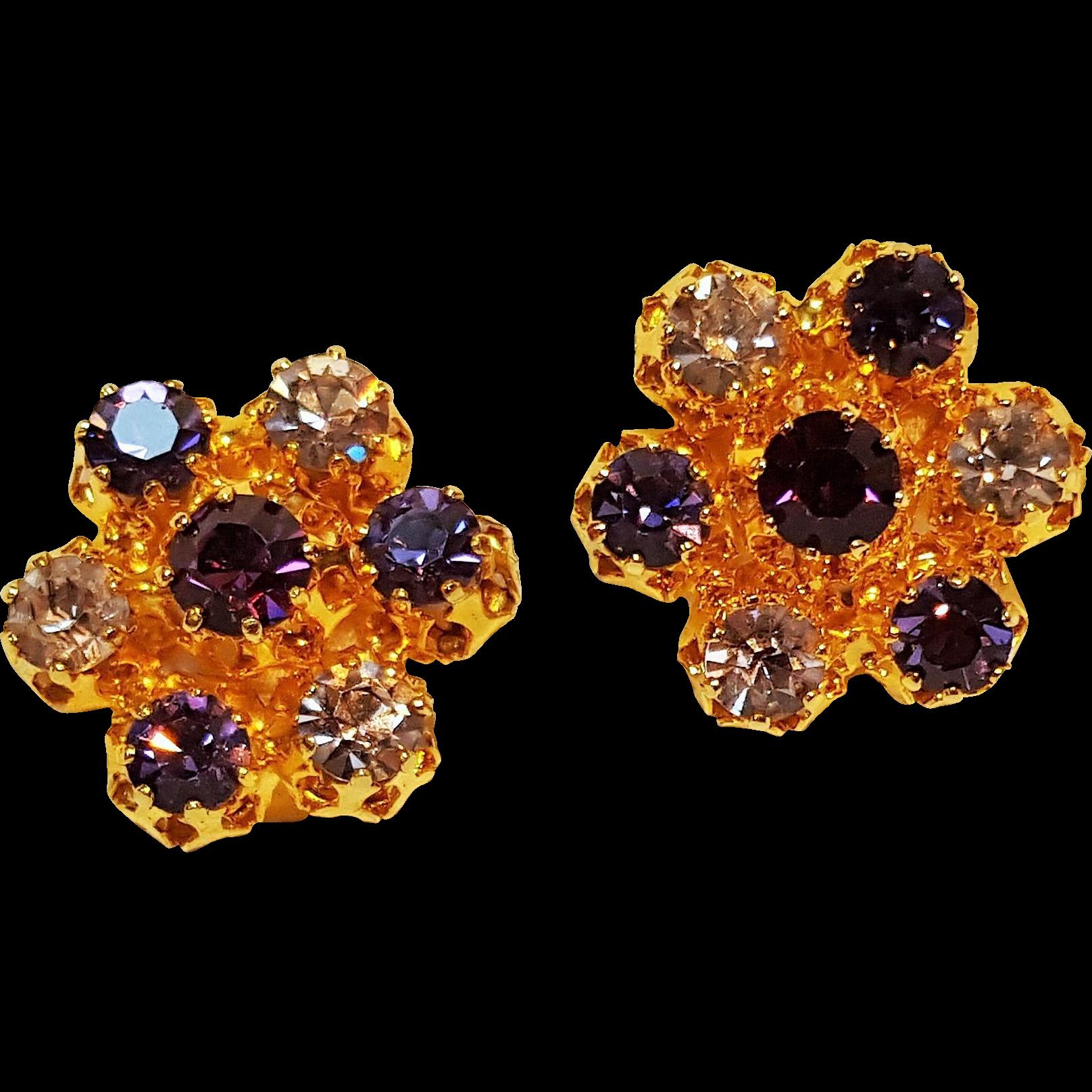 Austria rhinestone clip earrings purple lavender