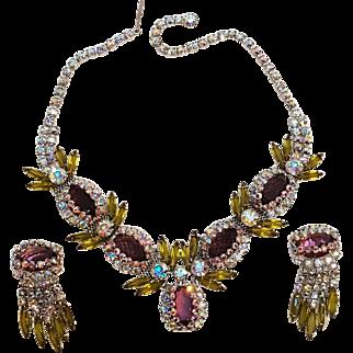 Rhinestone  necklace earrings caged aurora borealis, olivine navettes,  purple