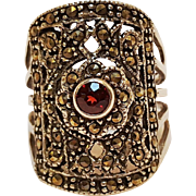 Sterling silver marcasite ring red stone NF