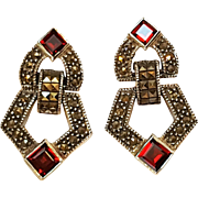 Judith Jack sterling marcasite red stone drop earrings omega clip