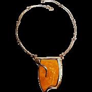 Modernist sterling silver Baltic eggyolk amber necklace