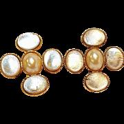 Poggi Paris silver foil glass cabochon clip earrings simulated pearl