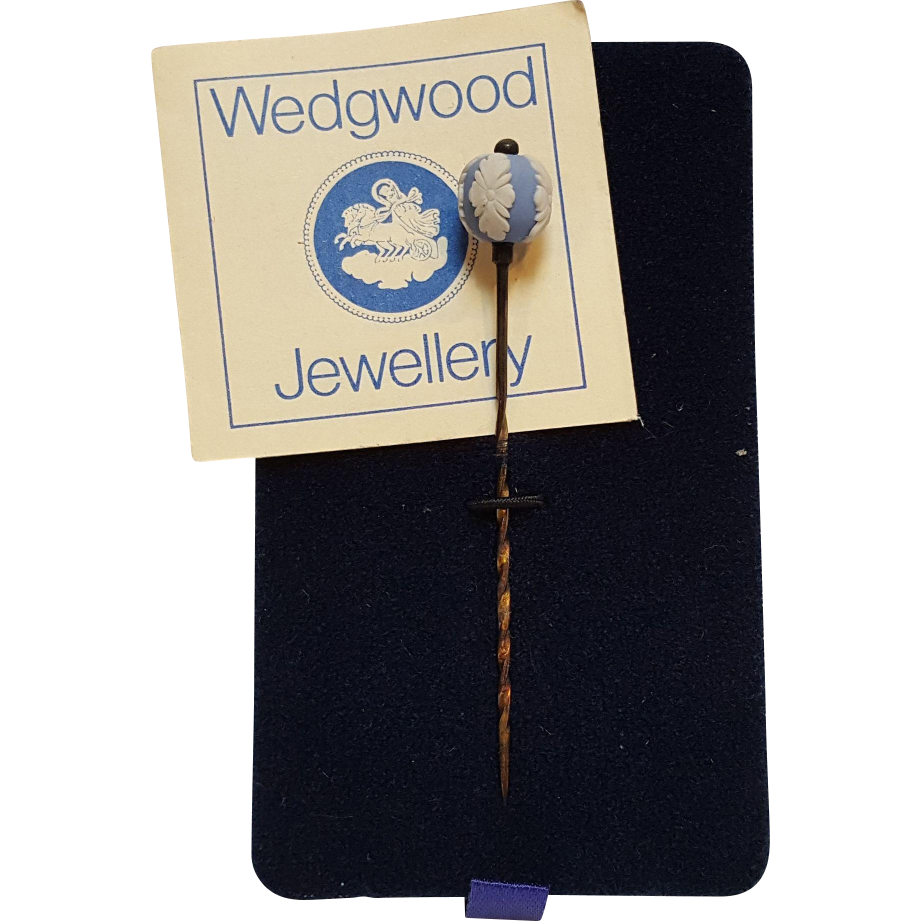 Wedgwood lapel stick pin blue and white jasperware