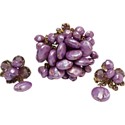 Juliana lavenders simulated coin pearl givre glass pin earrings set cha-cha