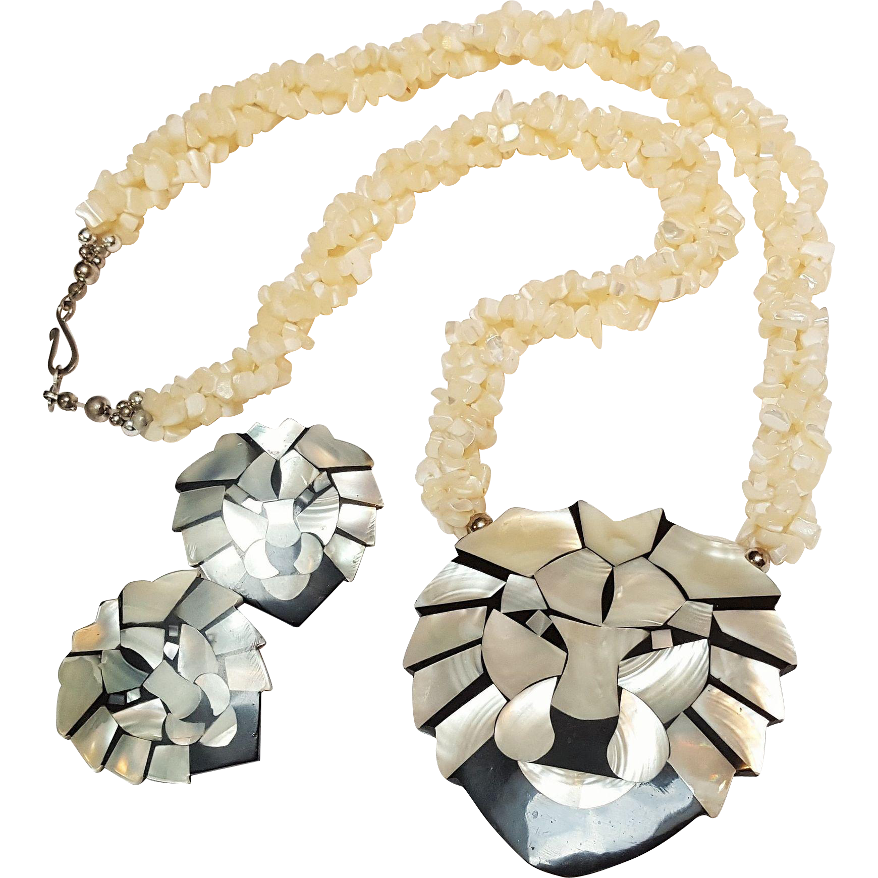 Lee Sands Lion necklace earrings set mother of pearl