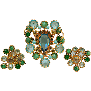 Schreiner brooch clip earrings set aqua blue crystal glass cabochon