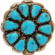 Alvina Quam Zuni turquoise sterling silver pin pendant
