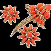 Boucher glass coral stone flower pin earrings set