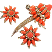 Boucher glass coral stone flower pin earrings set