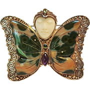 Sajen sterling butterfly Goddess head pin pendant gemstone