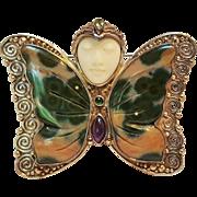 Sajen sterling butterfly Goddess head pin pendant gemstone