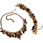 Juliana rhinestone necklace bracelet set flowers topaz brown mandarin orange