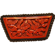 Chinese carved cinnabar pin