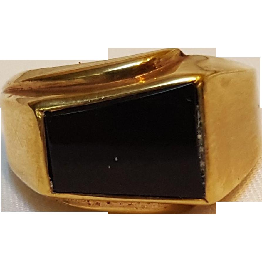 Uncas Karatclad ring onyx stone 18KHGE
