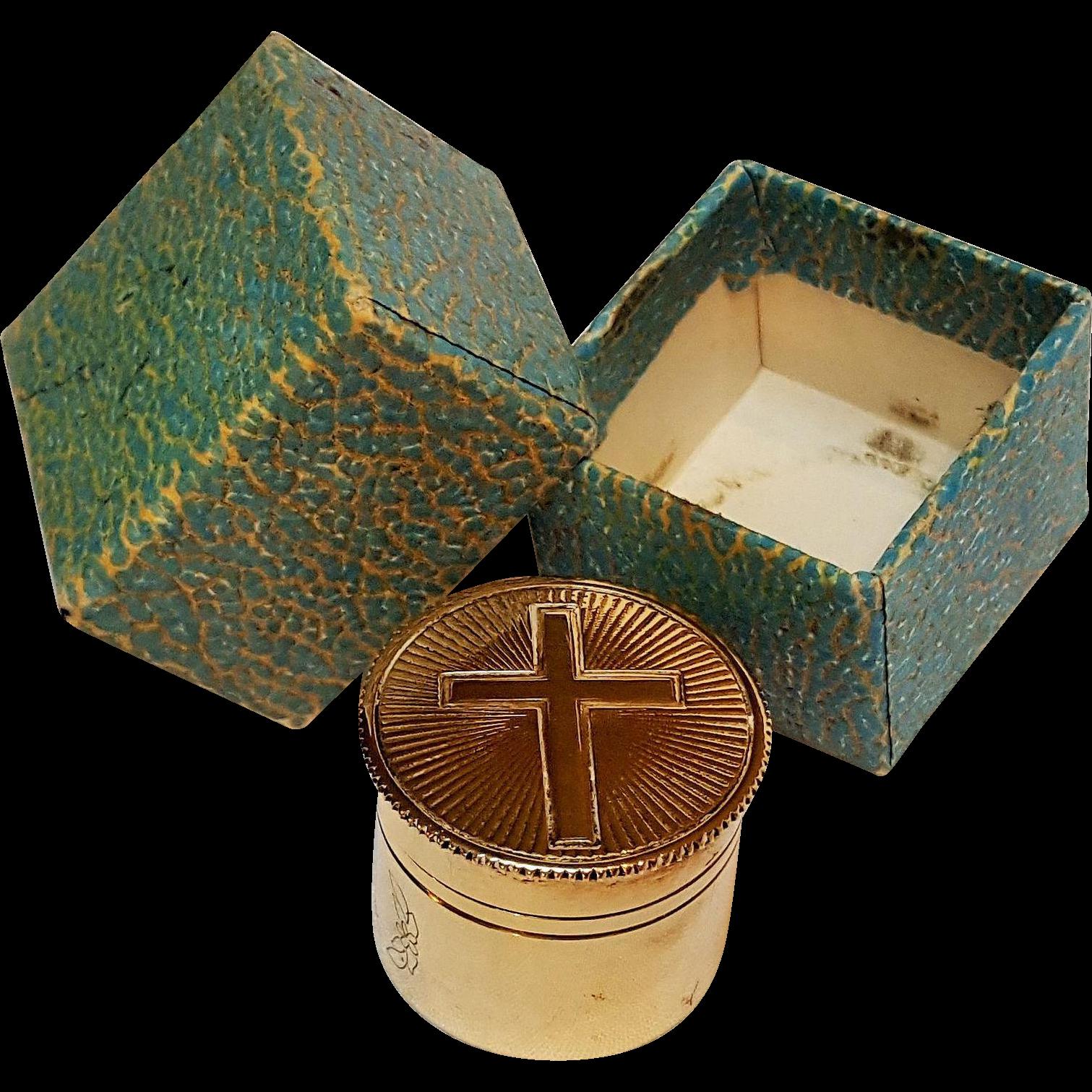 Gilt Sterling silver oilstock  pyx holy oil priest kit