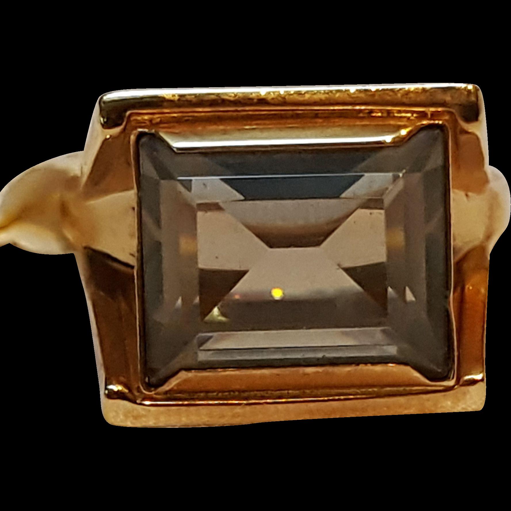 Vargas ring Midcentury Modern design smoke stone