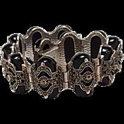 Sterling silver marcasite onyx bracelet