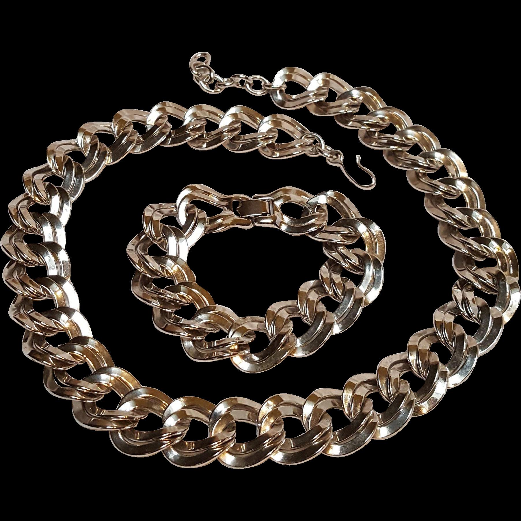 Monet double flat link chain necklace bracelet set