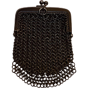 Gun metal France chatelaine mesh coin purse