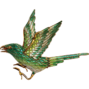 Silver enamel bird pin