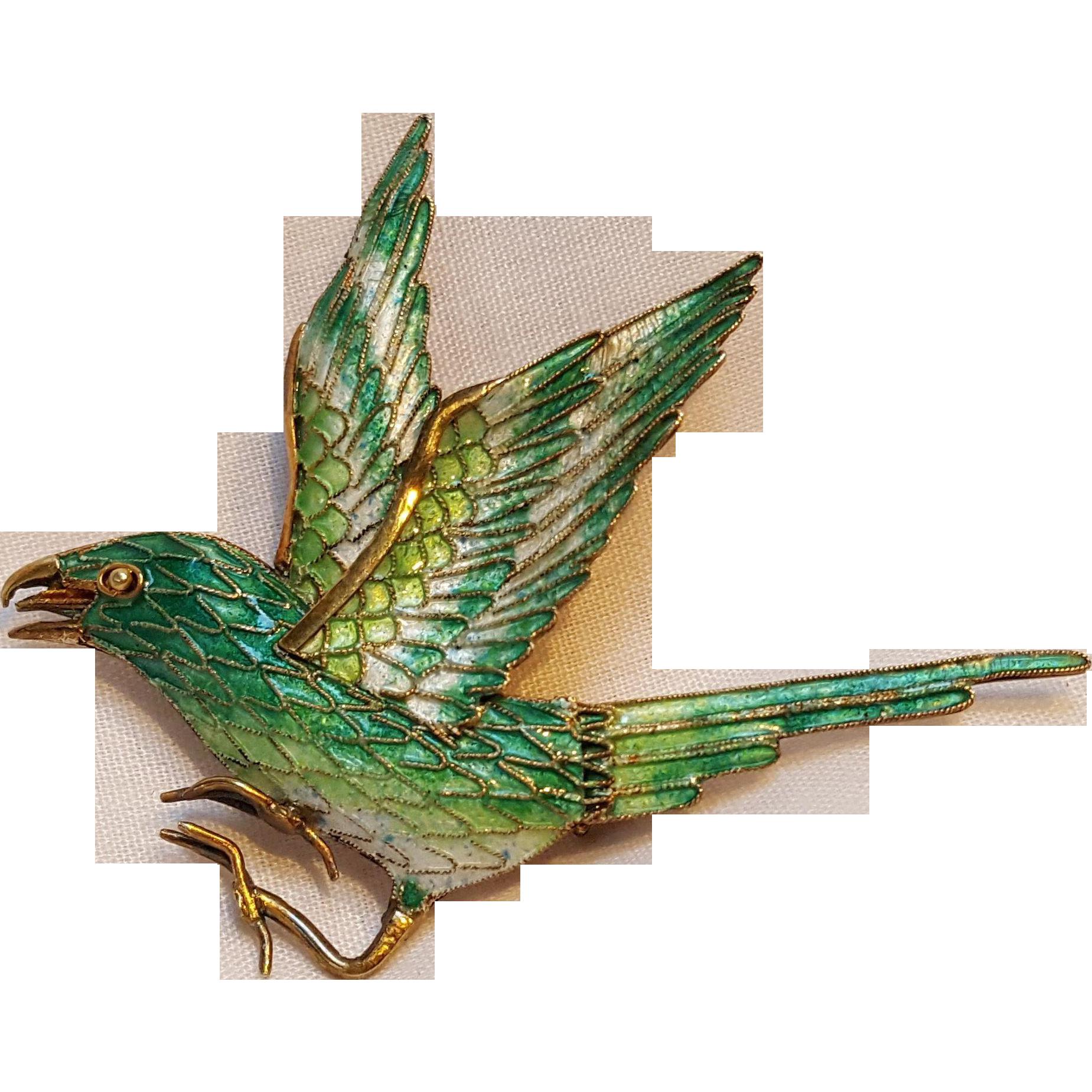 Silver enamel bird pin