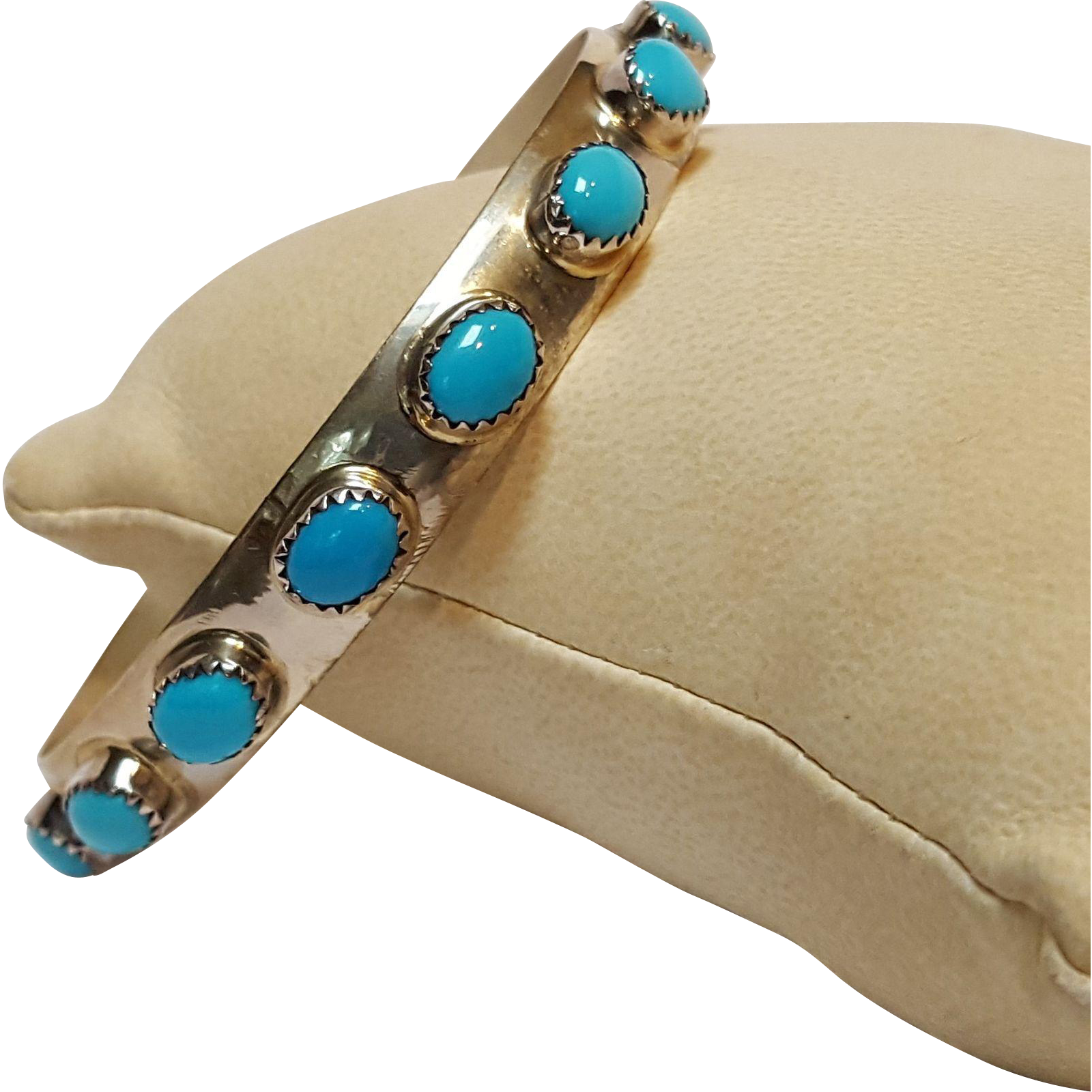 Native American sterling silver turquoise bangle Southwestern design LB