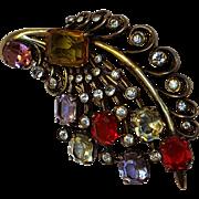 Eisenberg Original sterling vermeil fur clip original box multi color stones