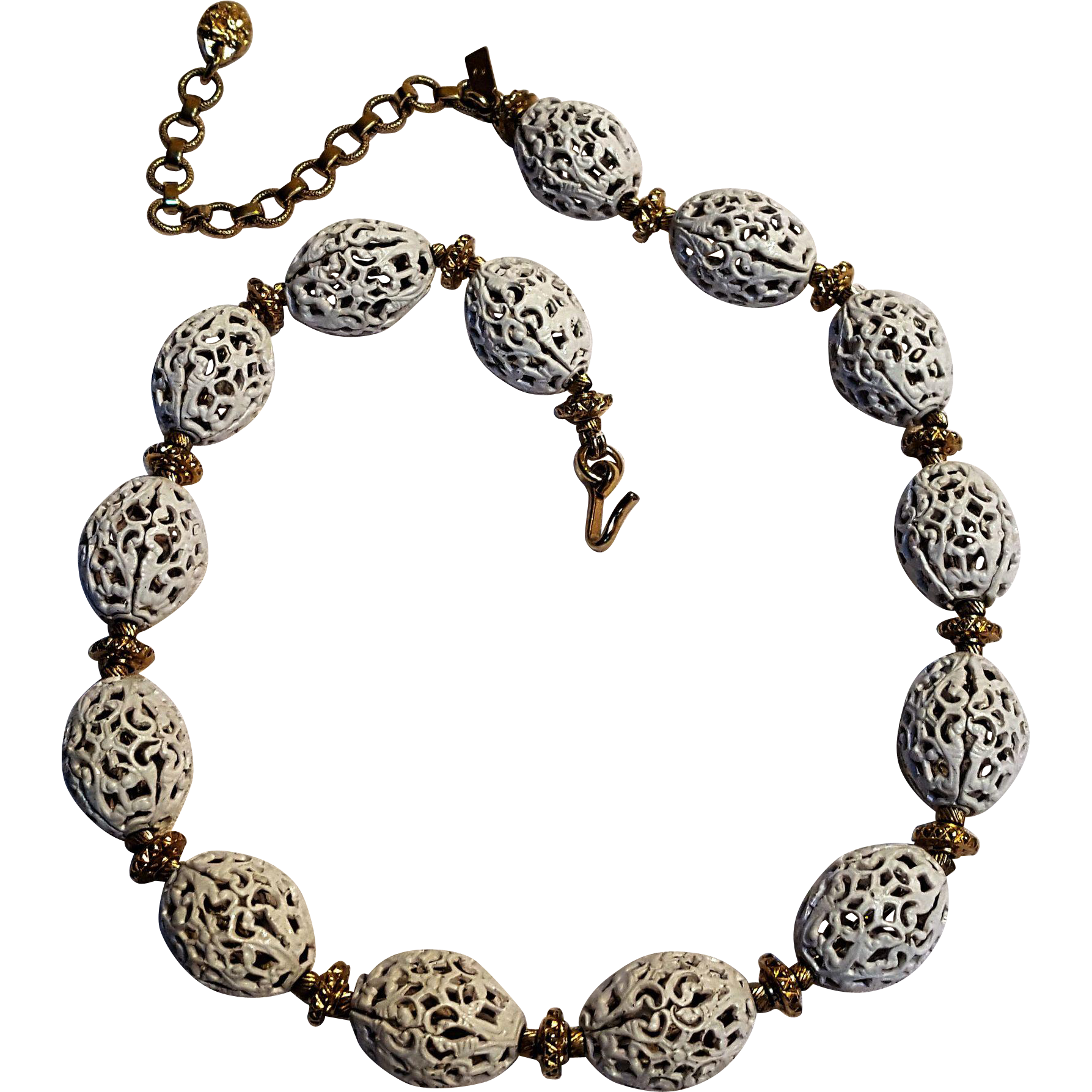 Monet white filigree metal bead necklace