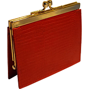 Neiman Marcus vintage red calf leather coin purse Italy