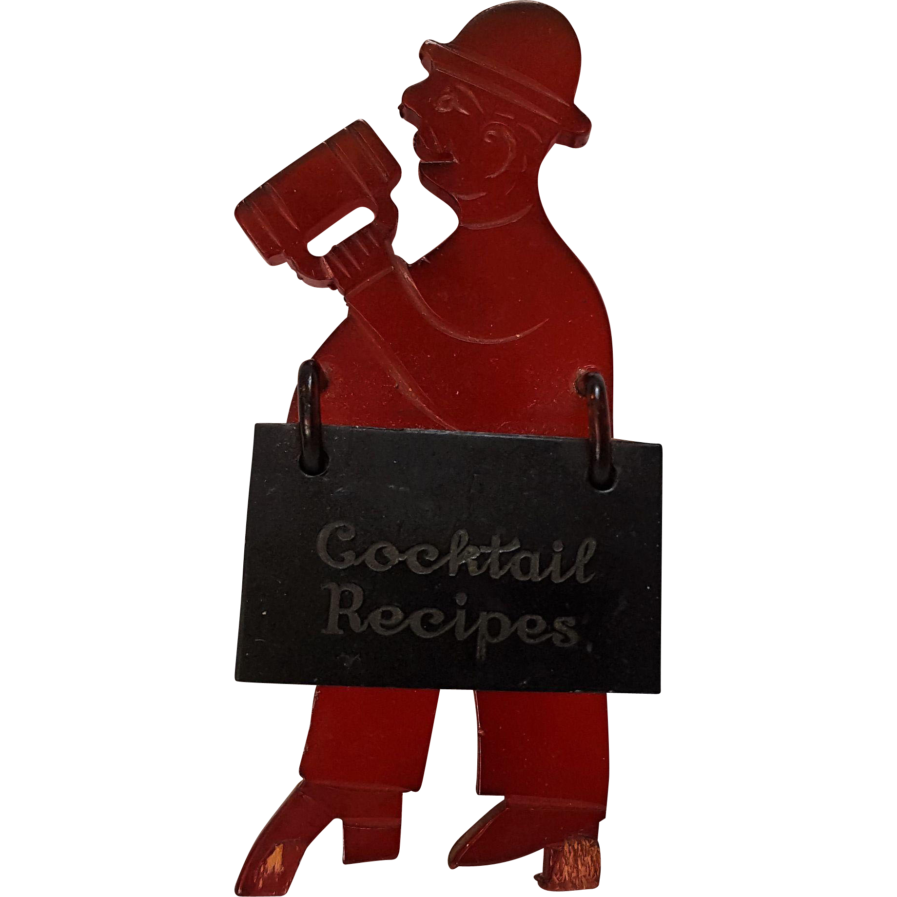 Bakelite cocktail recipe holder man with a beer red