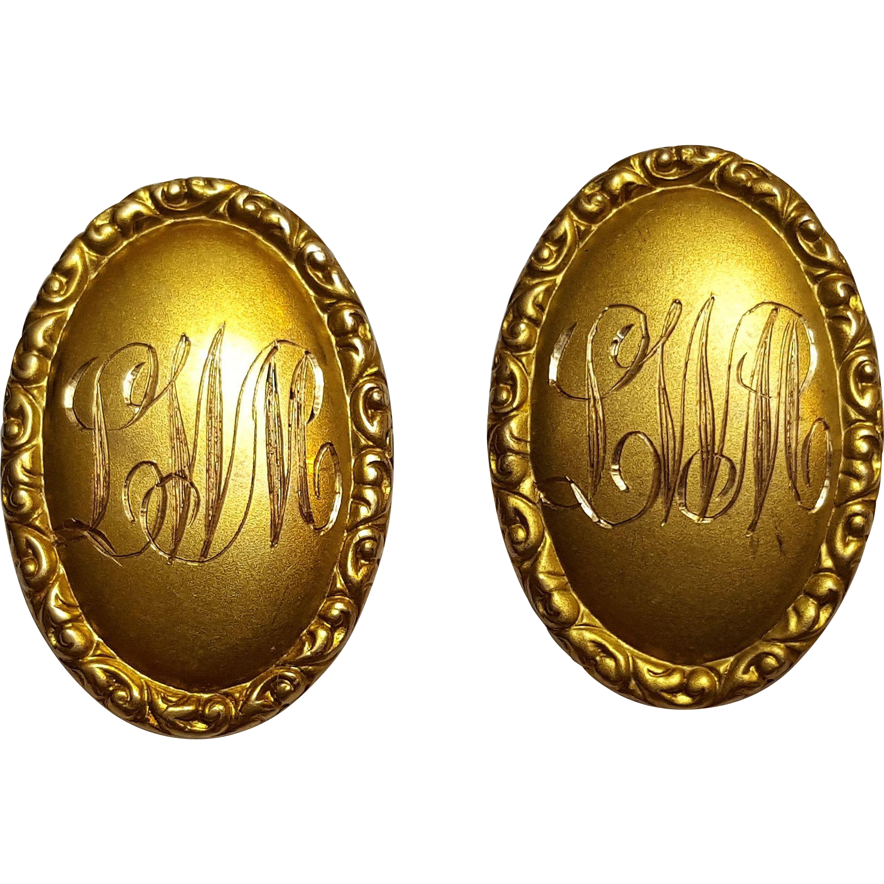 14K gold cufflinks antique L&A embossed frame engraved initials