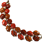 Lisner thermoset plastic ab rhinestone double leaf bracelet