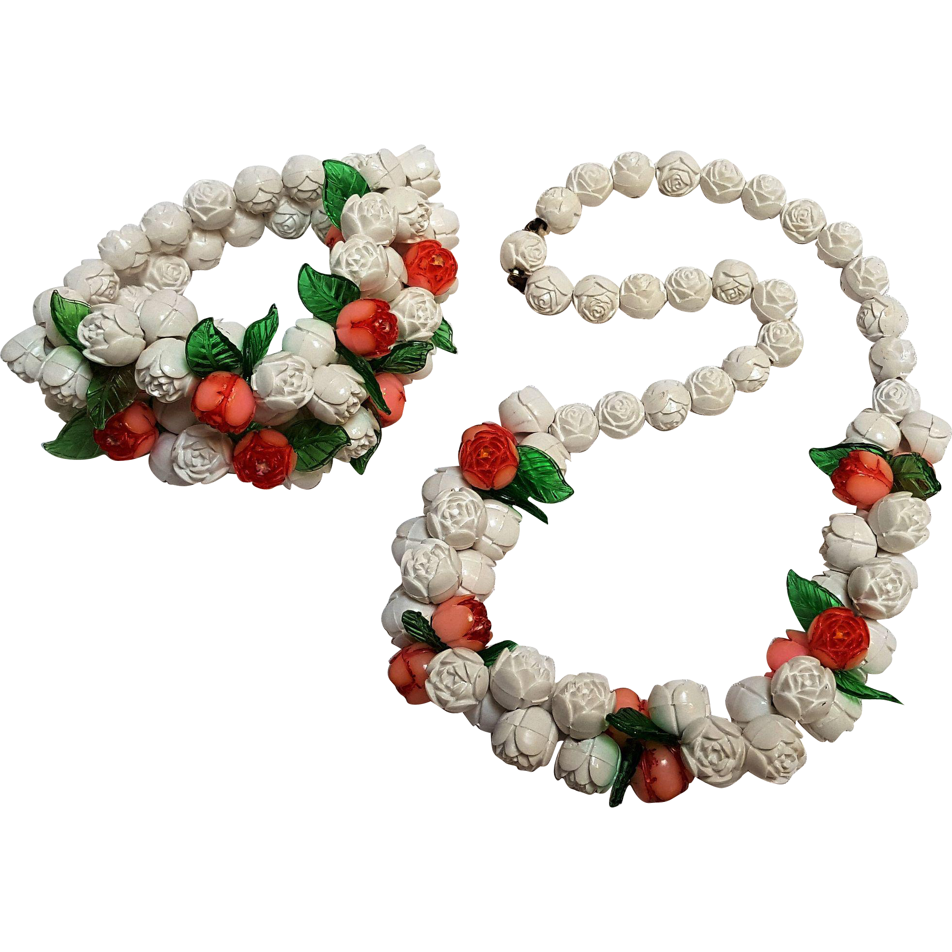 Molded hard plastic rose bead necklace bracelet set Depression era