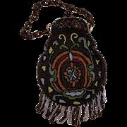 Egyptian Revival glass beaded beetle scarab purse simulated tortoise shell frame