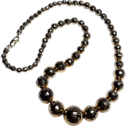 Sterling silver graduated faceted bead necklace BB