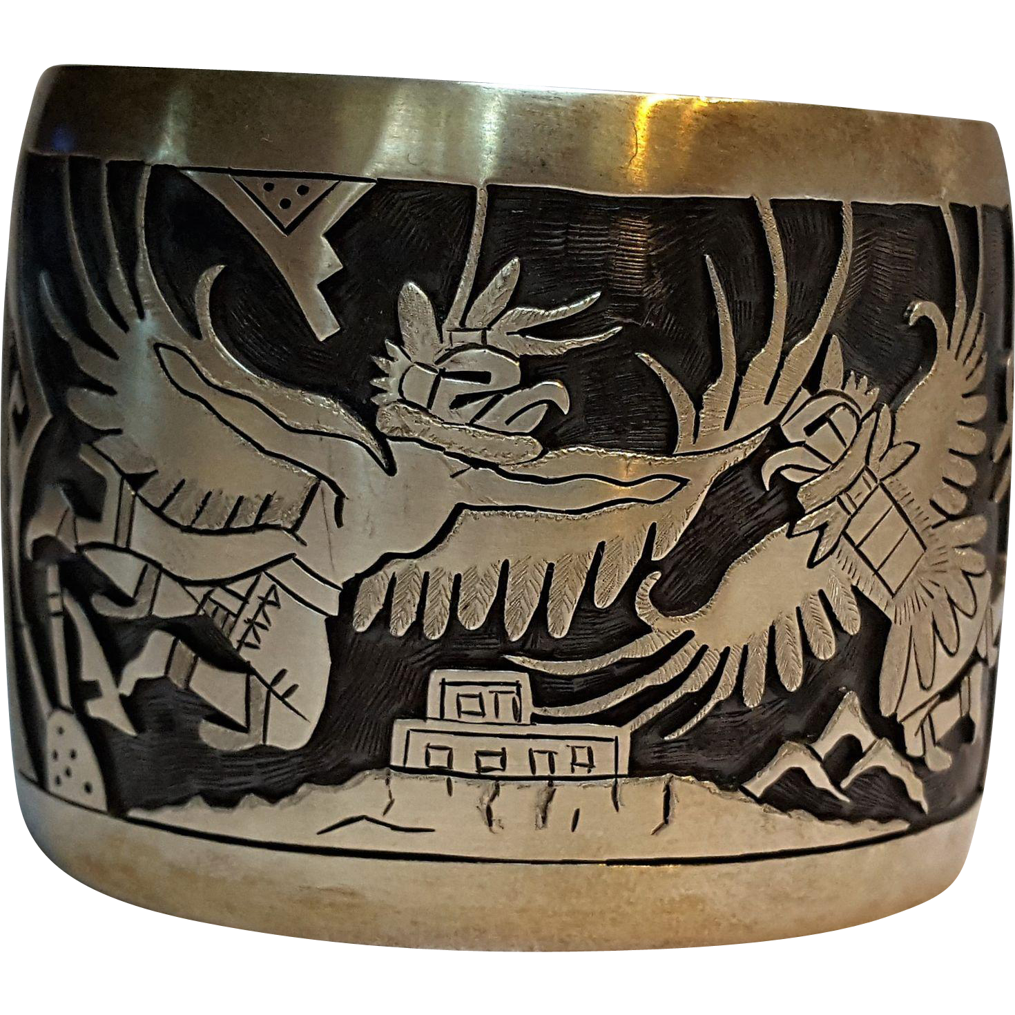 Wadsworth Native American Hopi sterling silver overlay cuff bracelet eagle dancers