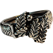 Feather fern double hinged cuff bracelet