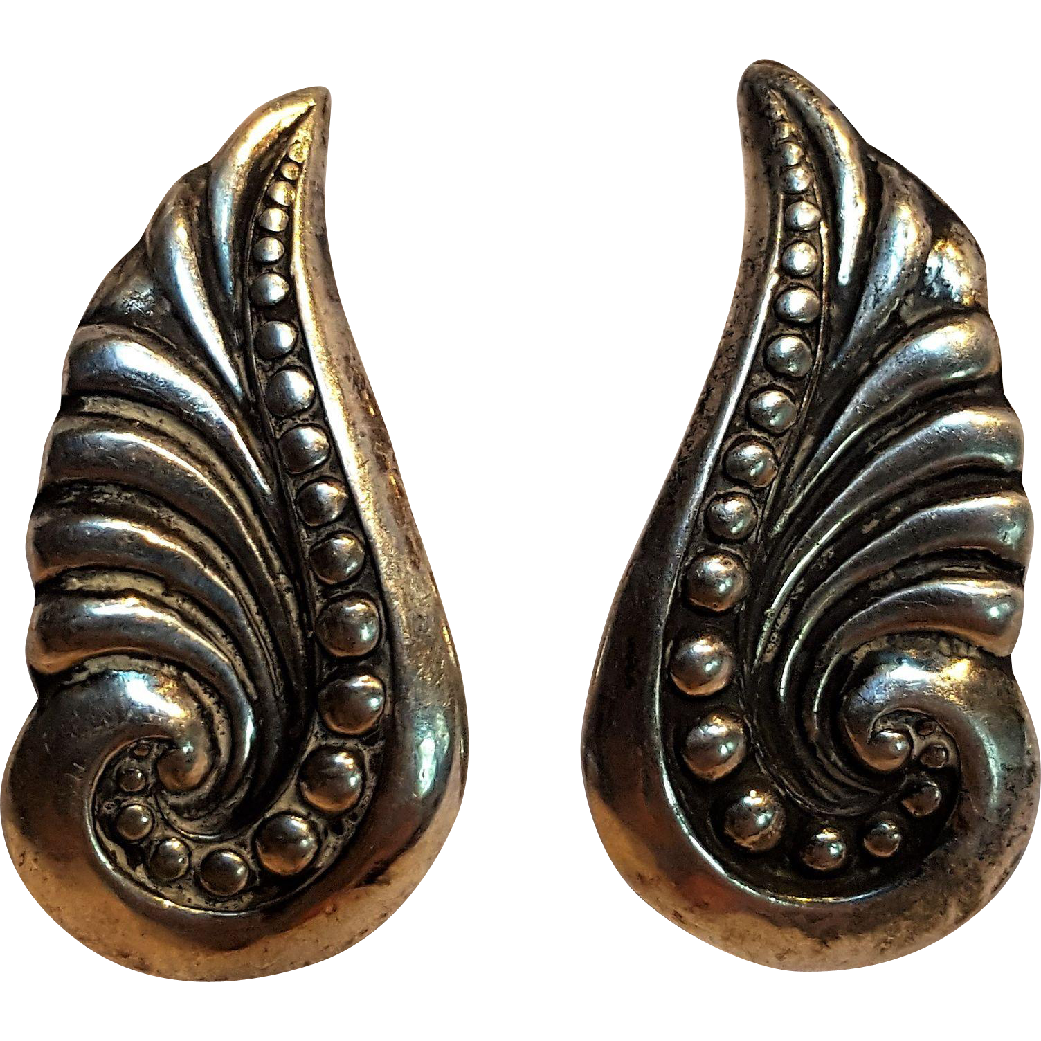 Gerardo Lopez Taxco sterling Mexico earrings stylized wing leaf