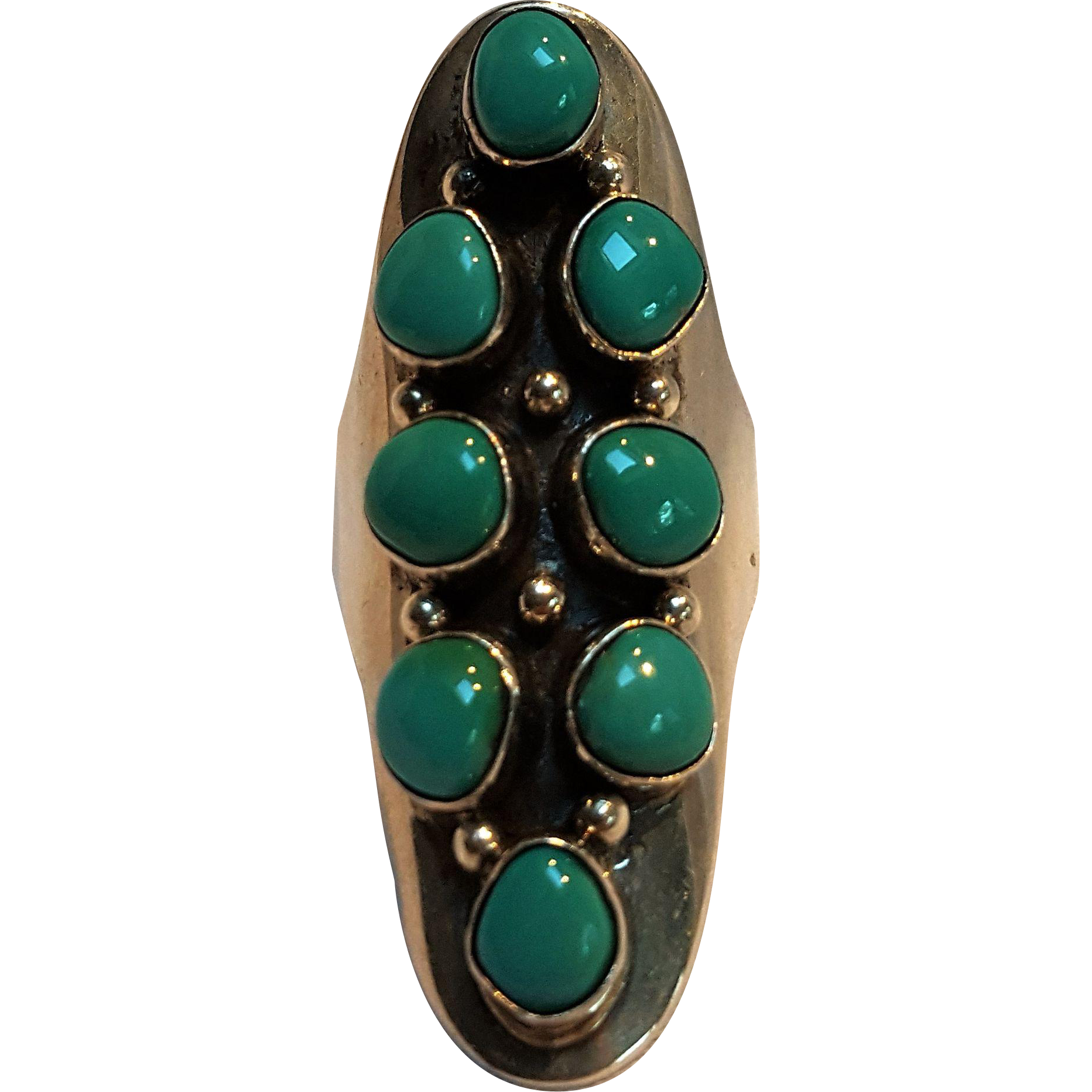 kirk arviso navajo sterling silver turquoise ring from
