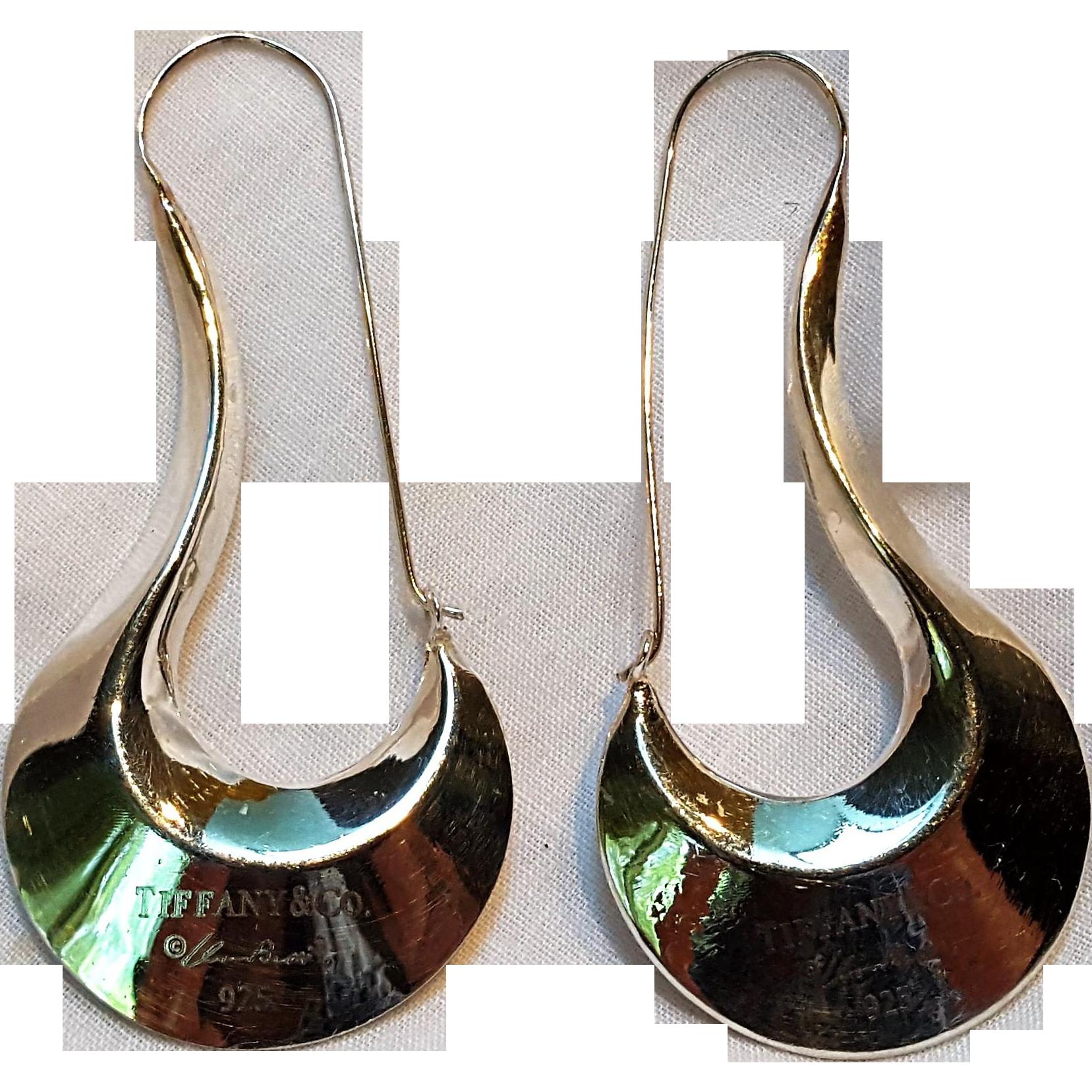 Tiffany & Company  Co Elsa Peretti sterling silver Modernist earrings