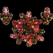 Rhinestone brooch pin earrings pink smoke gray navettes