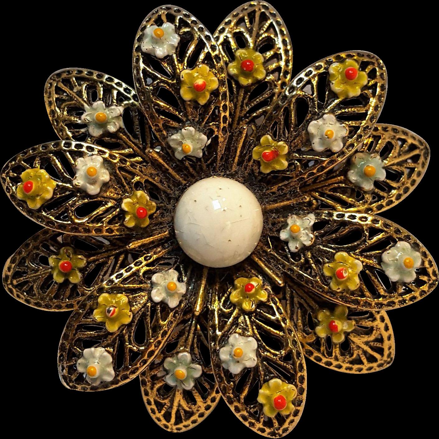 Signed Art enamel flower pin Mode Art