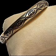 Tahe sterling silver bangle Navajo stamped design