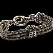 Suarti Bali sterling silver triple fox chain bracelet