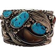 James Shay Navajo sterling silver cuff bear claw turquoise coral
