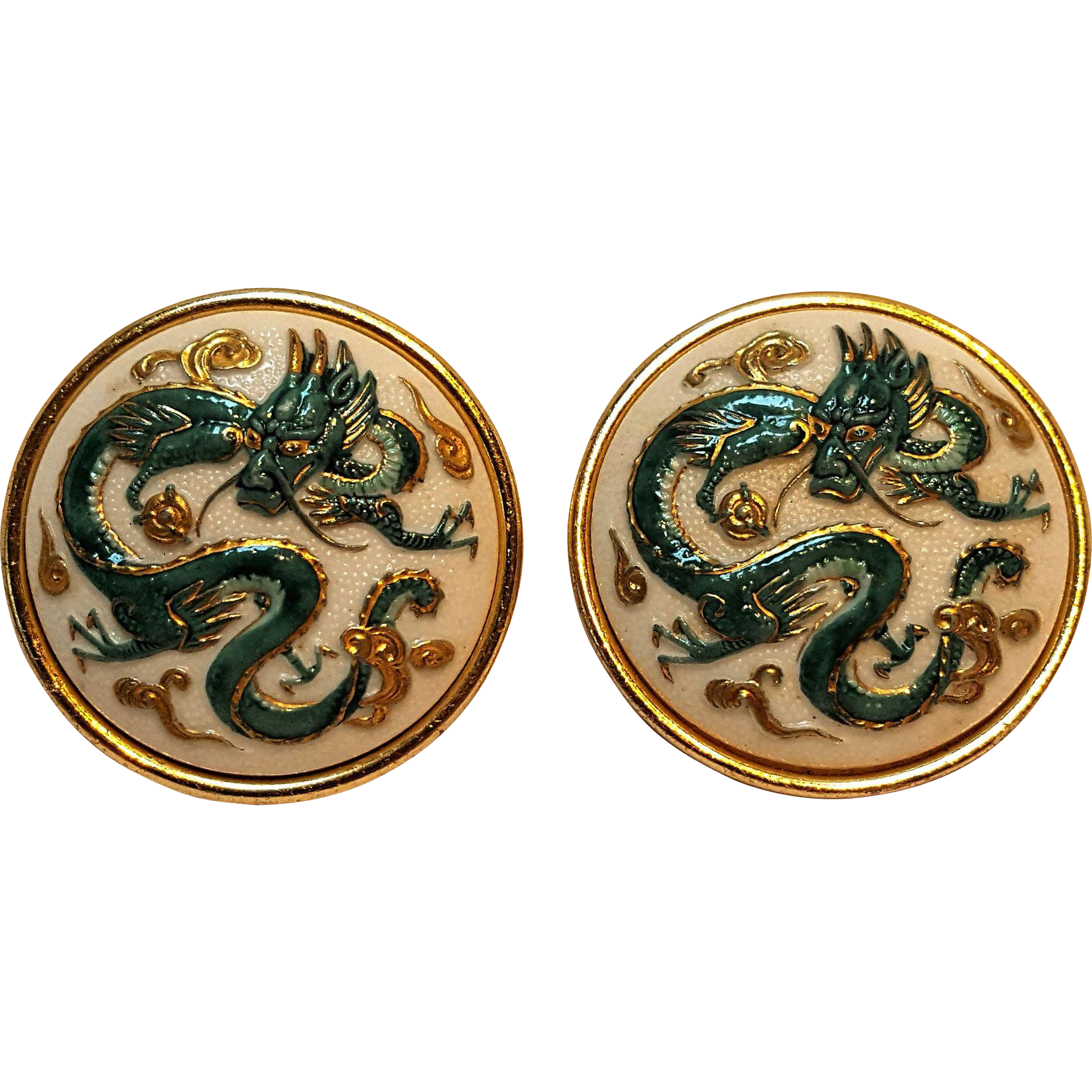 Toshikane enamel on porcelain dragon clip earrings Japan
